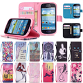 S3 Mini Stand Wallet Flip PU Leather Case For Samsung Galaxy S3 Mini i8190 Phone Bag Pouch With Card Slot Soft Painting Cover