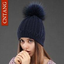 Для женщин двухслойная вязаная шерстяная шапка зимняя натуральный мех енота Мех теплые Кепки S женские pom Шапки Дамская мода Skullies шапочки Кепки