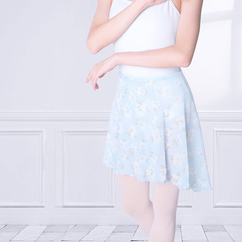 High Quality Chiffon Ballet Skirt Women Adult Girls Wrap Ballroom Dance Skirt Floral Print Short Skirts