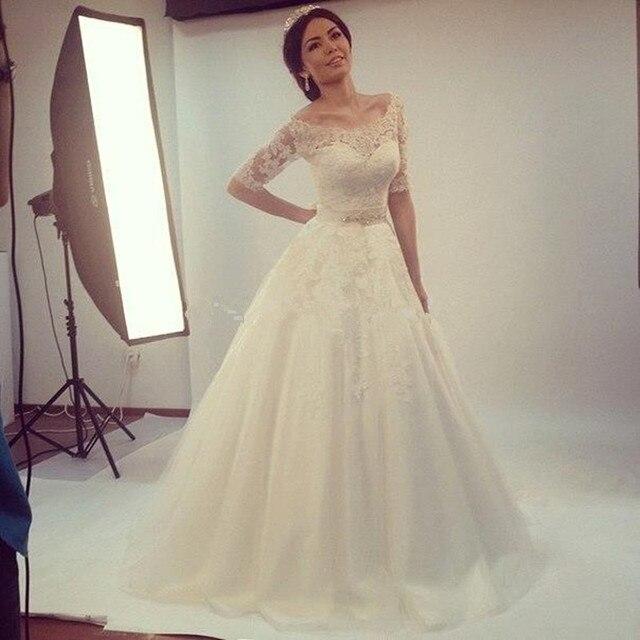 elegante 2016 estilo simple medio aline vestidos de novia corte