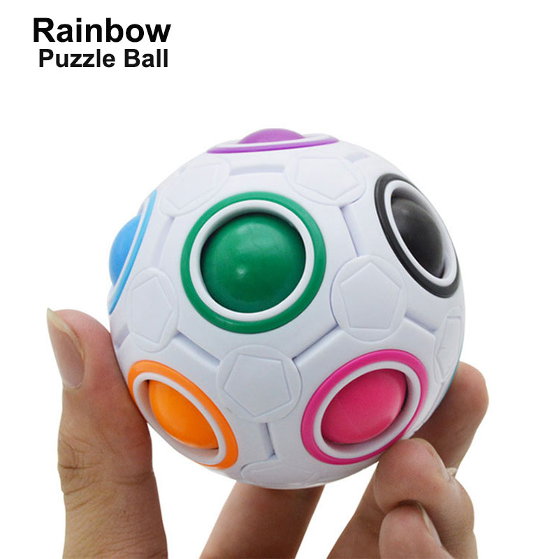 Creative Spherical Magic Speed Cube Rainbow Puzzles Ball Football Funny Montessori rubiks cube antiestres Ball Toys for Children