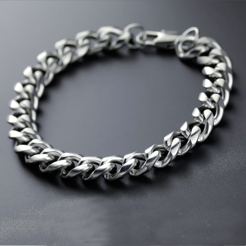 Chain on hand men bracelet cuban link mens silver braclet wide stainless steel jewelry male accessories men\x27s bracelets Rock