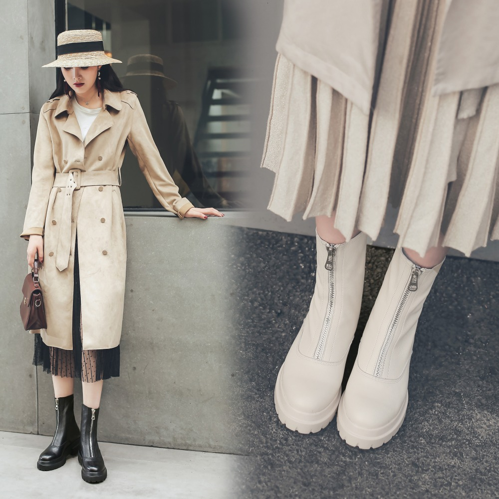 Vangull kobiety buty z prawdziwej skóry moda Handmade skóra bydlęca skóry lakierowanej skóry krótkie buty z przodu na zamek błyskawiczny platformy Martin buty obwód rury 25cm w Buty do kostki od Buty na  Grupa 3