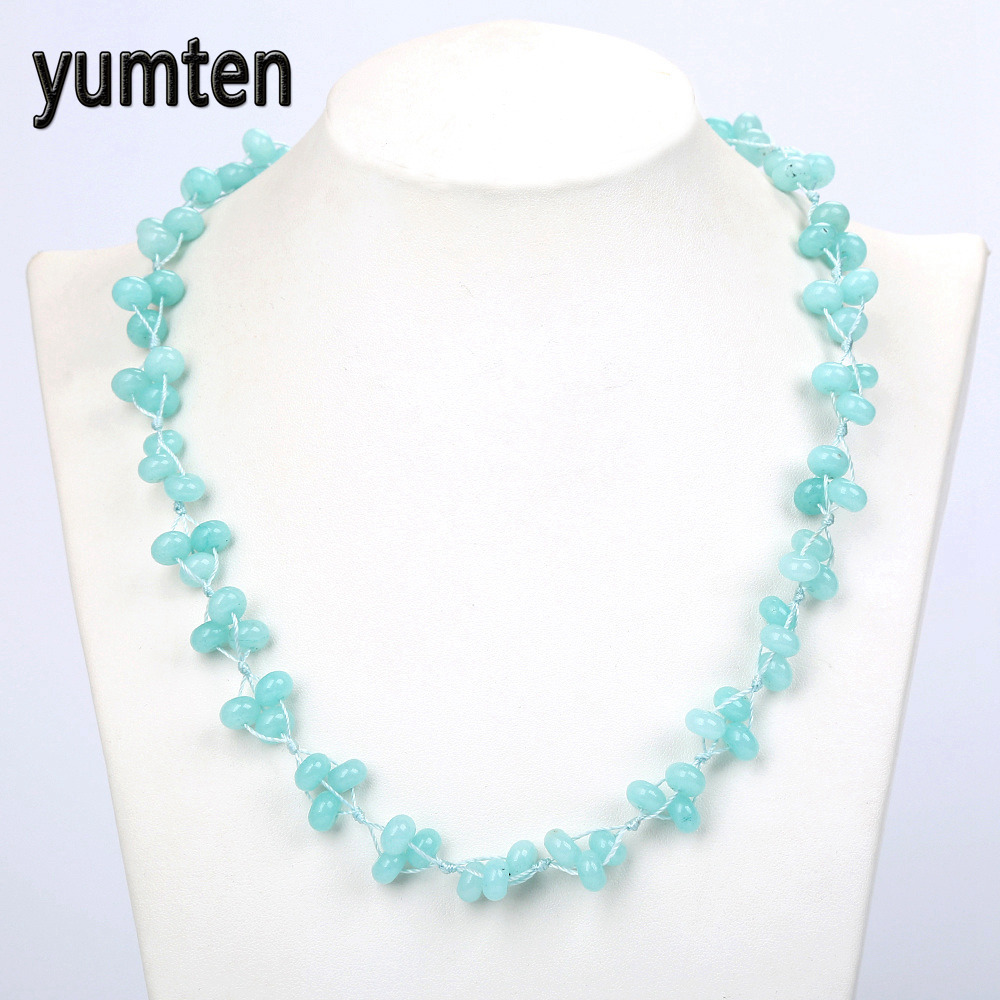 Yumten Aquamarine Braided Necklace Natural Stone Sky Blue Crystal Lady Chain Ball Power Youthful Women Jewelry Wholesale 5 PCS
