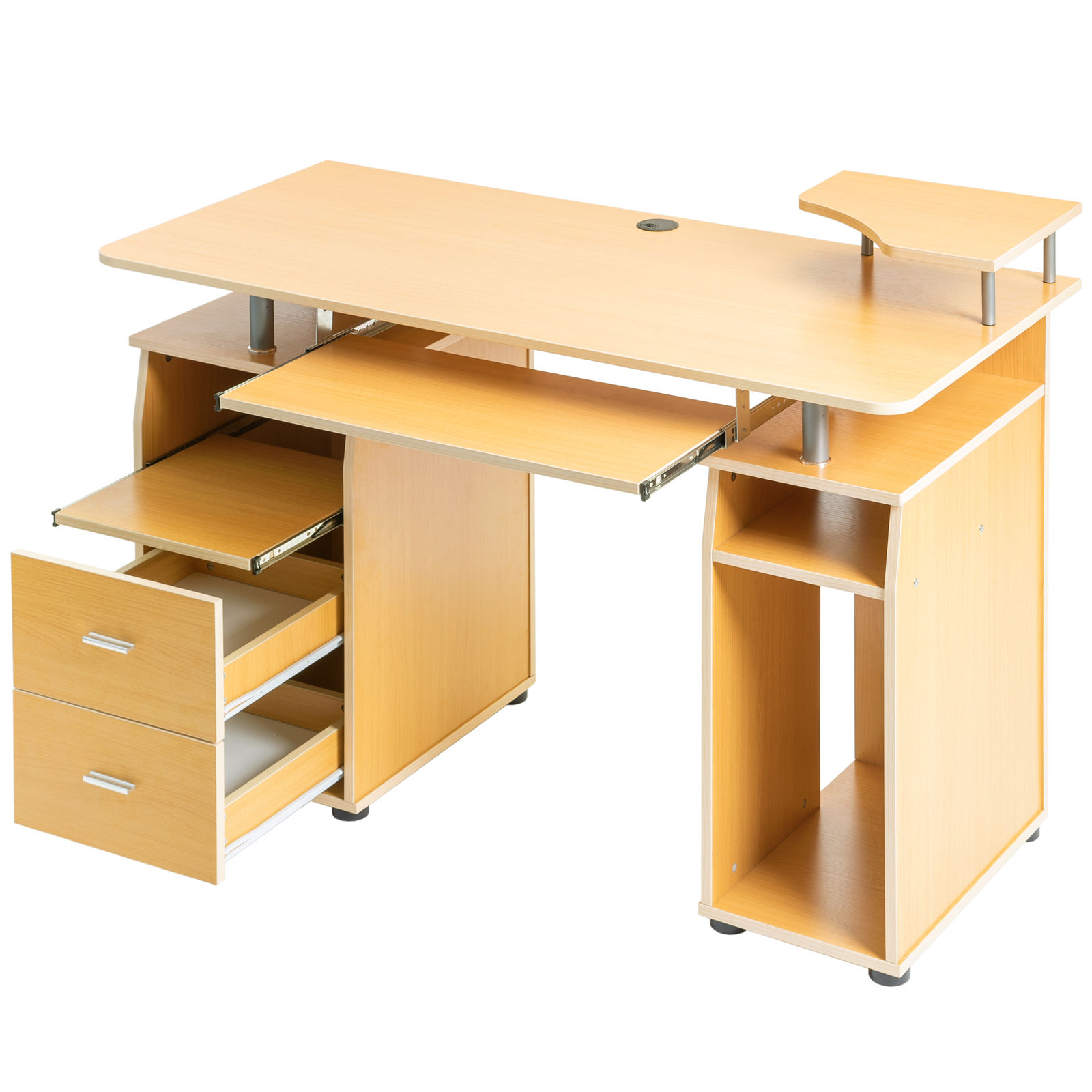 Us 149 99 Computer Desk With Pull Out Keyboard Tray And Drawers Storage Bookcase Pc Laptop Workstation Study Table For Home Office In Desks