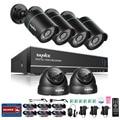 Sannce nova 1200tvl 8ch 4 em 1 tvi dvr 6 pcs ir à prova de intempéries de vigilância de vídeo ao ar livre sistema de câmera de segurança em casa