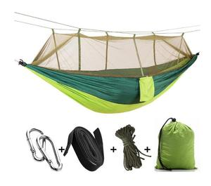 Image 3 - 1 2 Person Portable Outdoor Camping Hammock with Mosquito Net High Strength Parachute Fabric Hanging Bed Hunting Sleeping Swing