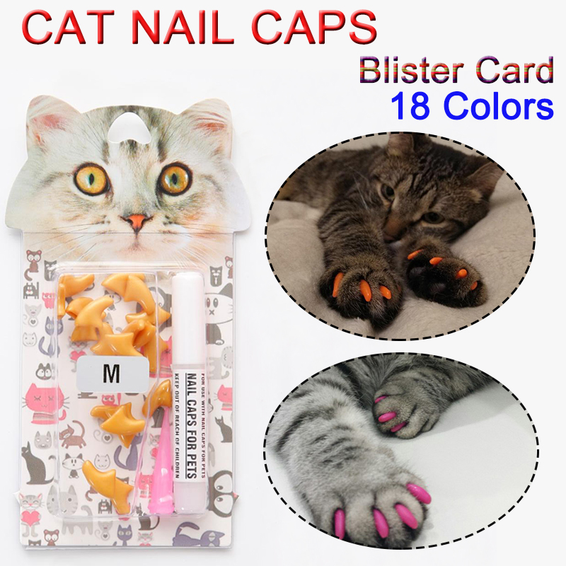 20 Pcs New Blister Card Anti-scratch Silicone Soft Cat Nail Caps Cat Paw Claw Nail Protector With Applicator And Free Glue