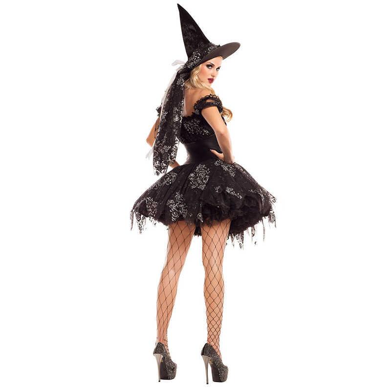 Halloween Sexy Wanita Gaun Pendek Hitam Vampir Kostum Pakaian Jahat Pakaian Dewasa Anime Penyihir Pesta Teror Peran Bermain Kostum