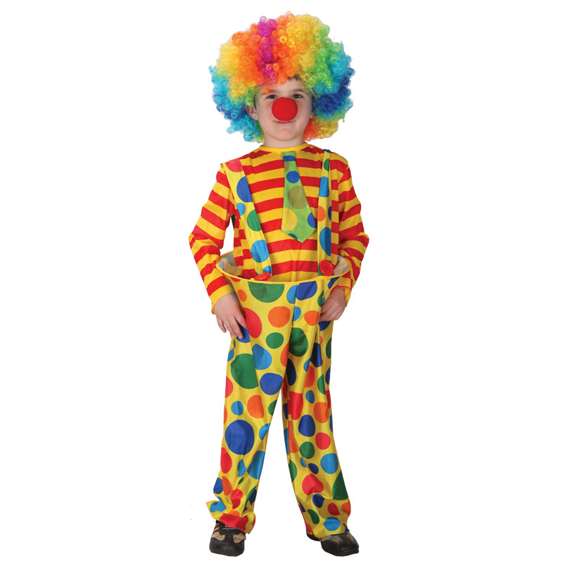 Kids Child Amusing Steel Ring Circus Clown Costume for Boys Halloween Purim Carnival Masquerade Mardi Gras Party Outfit