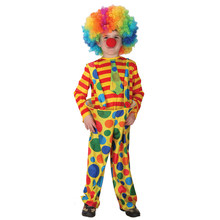 Kids Child Amusing Steel Ring Circus Clown Costume for Boys Halloween Purim Carnival Masquerade Mardi Gras Party Outfit my 1st mardi gras clown hat white top green girls baby skirt cloth outfit 3 12m