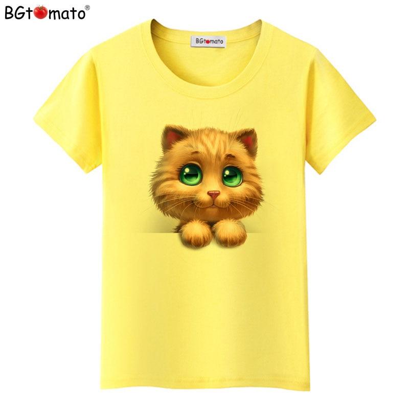 f7d6b53f5 BGtomato T shirt Lovely yellow cat shirt Super cute lovely 3d printed t-shirt  Hot
