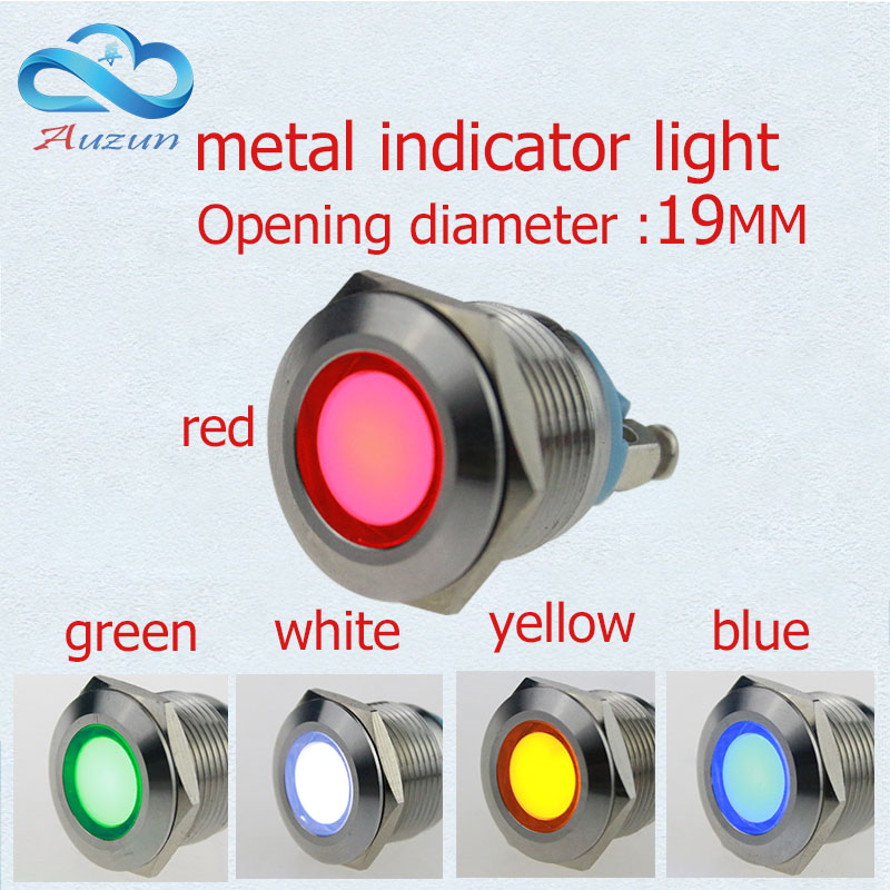 10 PCS LED Metal Indicator Lights 19 Mm Metal Light Warning Car Light 3V 6V 12 V 24V36v 48v 220Vred Green Yellow Blue And White