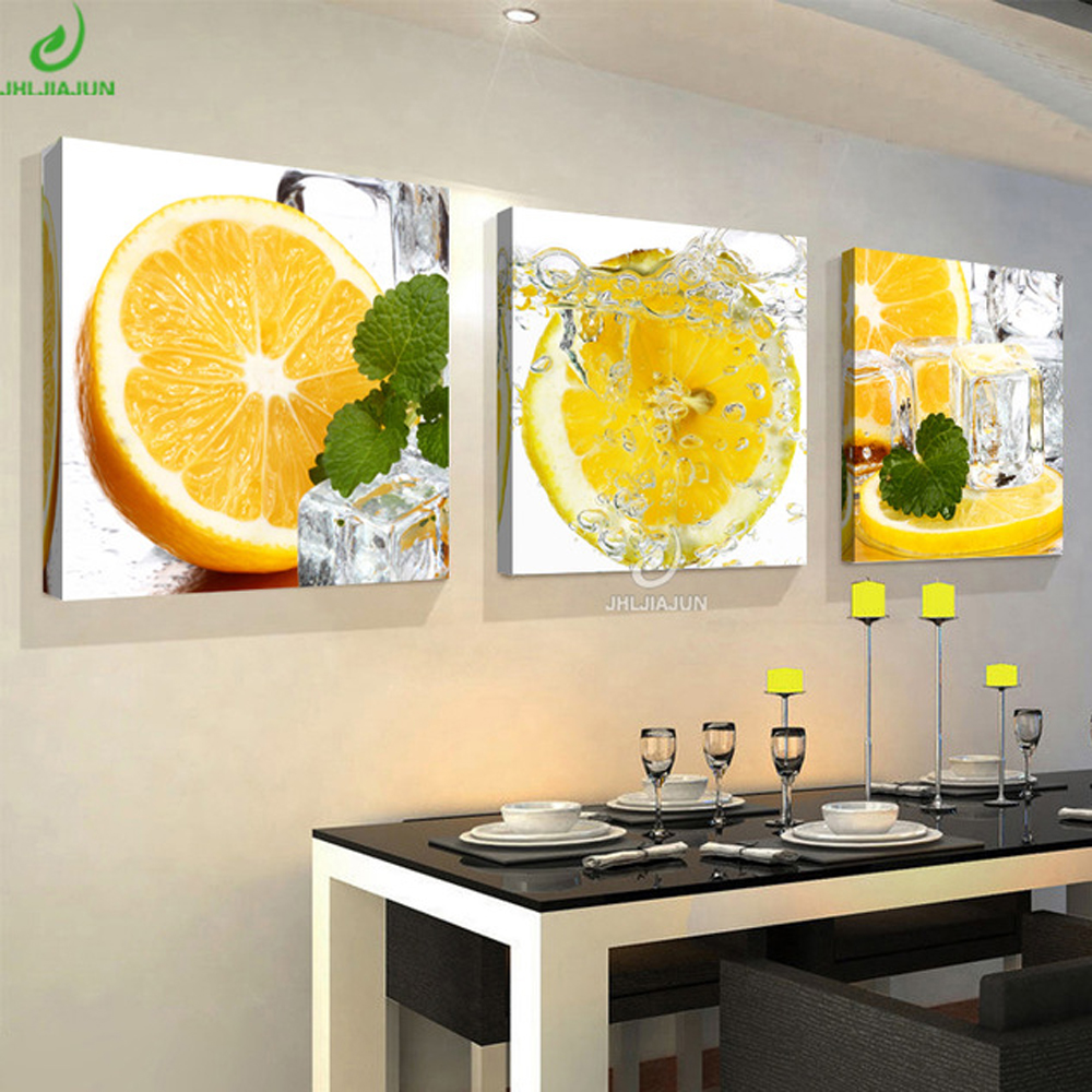 Lemon-Paintings Poster Pictures Modular Living-Room Triptych Kitchen Decoracion Oil