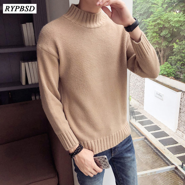 626b9b5384 2019 Fall Winter Thick Warm Cashmere Sweater Men Turtleneck Men Brand Mens  Sweaters Slim Fit Pullover Men Woolen Double Collar