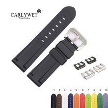 CARLYWET 22 24mm Black White Brown High Quality Waterproof Silicone Rubber Replacement Watch Band Loop Strap For Panerai Luminor