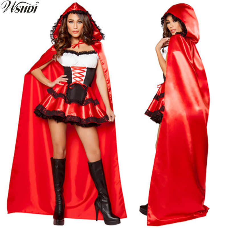 2018 New Adult Women Halloween Costume Little Red Riding Hooded Robe Lady Embroidery Dress Party Cloak Outfit For Girls