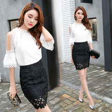 Make the new dress small sweet dew shoulder bag hip wind lace skirt temperament women fashion suits two-piece outfit