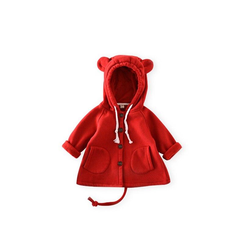 Осенние куртки для малышей Костюмы Милая Детская куртка с капюшоном для мальчиков и девочек Малый с медвежьими ушками детская верхняя одеж...