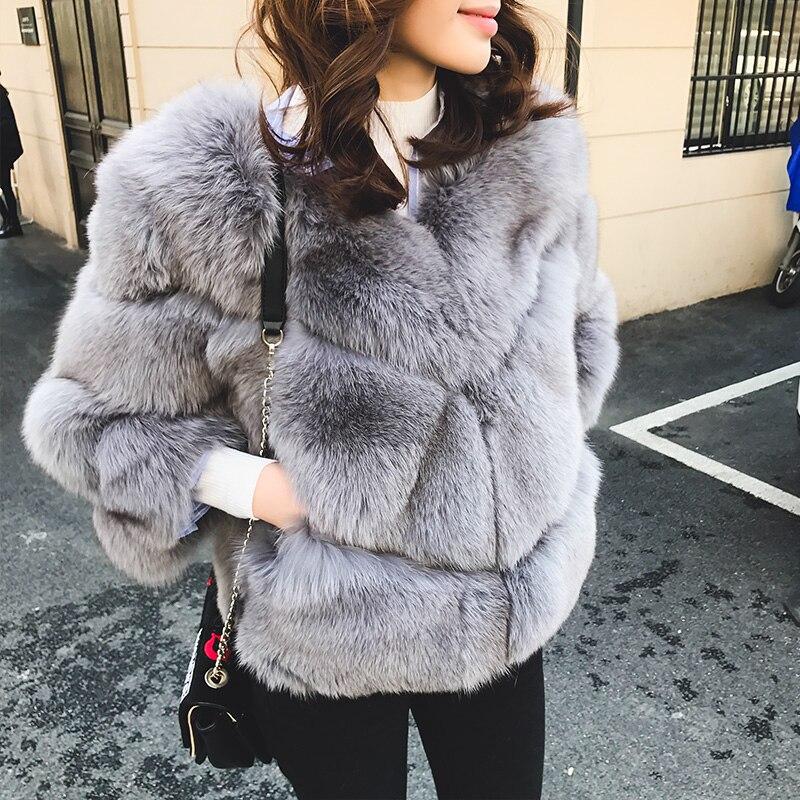 Femmes Gray Veste Femme Renard Automne black 2018 white gray Hiver My1099 Vintage dou Manteau D'hiver Coréenne Vêtements dark Vestes Réel Cream blue Sha De Courte Fourrure rXHwr6xz