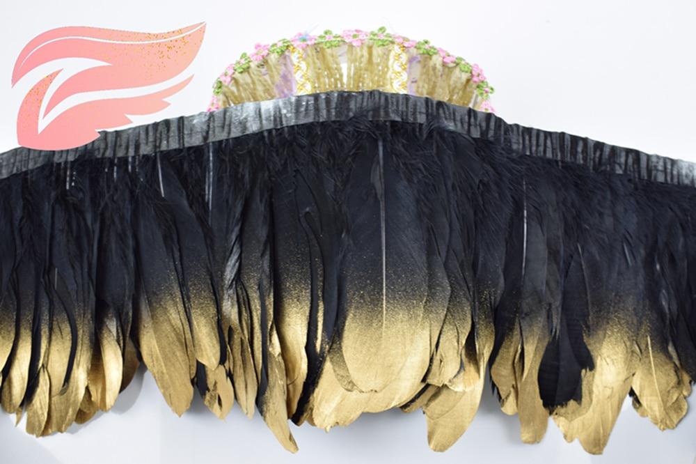 Новинка! Черный гусиный пух украшения 2 ярдов/lot окрашенная гусиный пух ленты 15 ~ 18 см утка волос Танцы DIY украшения