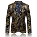 Новое Прибытие Мода Мужская Цветочные Пиджак Мужчины Пиджак Весте Homme Костюм Homme Сценические Костюмы Для Певцов Золото Blazer Для Мужчин