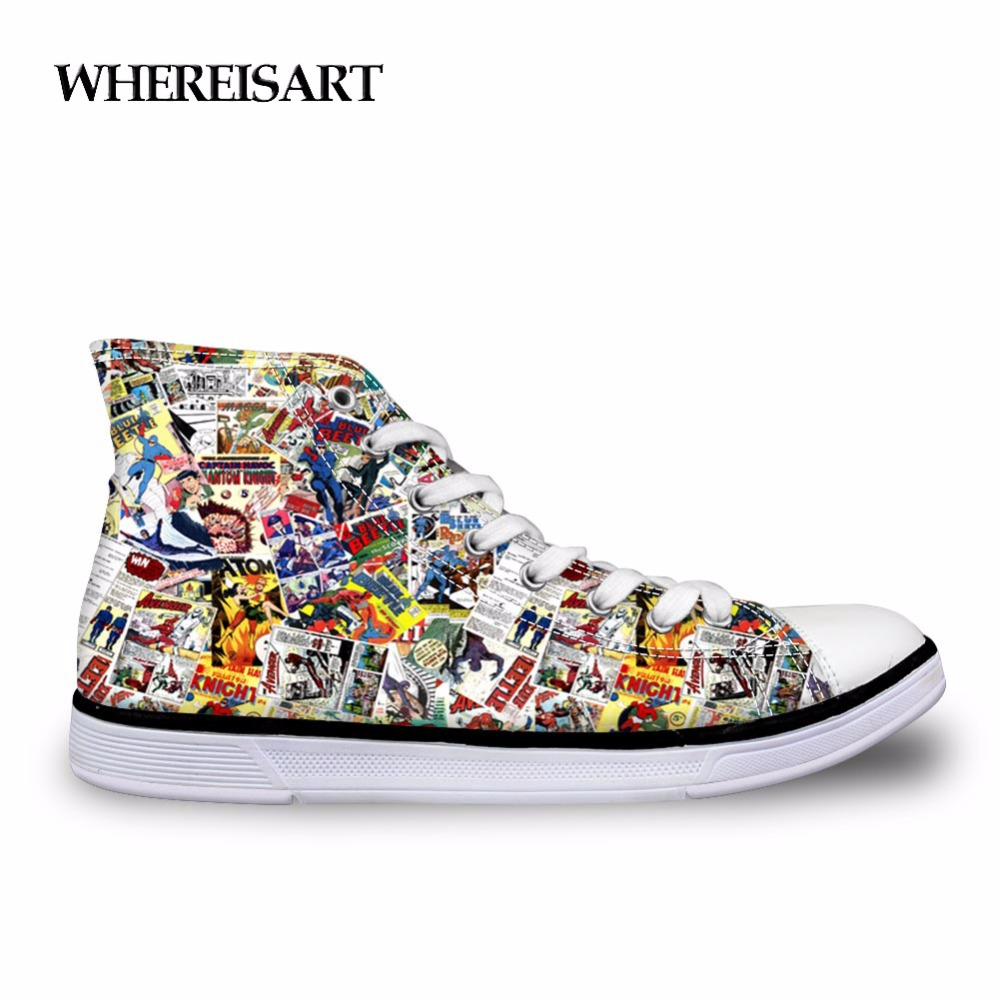 WHEREISART Vulcanized Shoes Men Vintage Comic Book Heroes Printing Canvas Shoes Male Casual Flats High Top Vulcanize Shoes Men