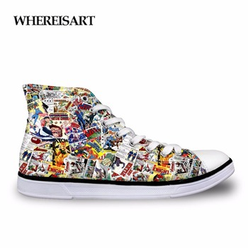 WHEREISART Vulcanized Shoes Men Vintage Comic Book Heroes Printing Canvas Shoes Male Casual Flats High Top Vulcanize Shoes Men men 39 s shoes men oxford vulcanize shoes korean men s shoes canvas shoes wild men s casual trend high top to help tides shoes