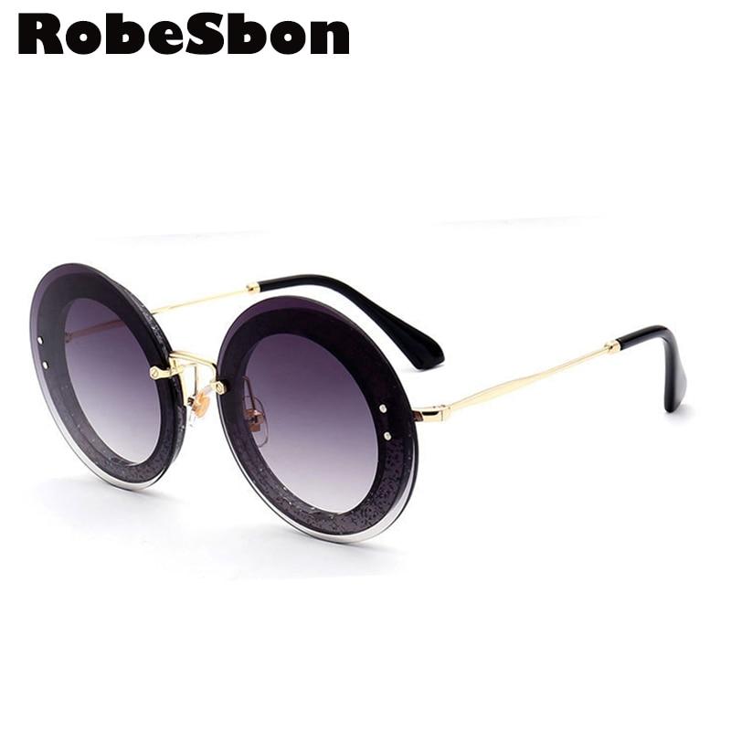 2018 Nova Estrela Da Marca Óculos De Sol Redondos Mulheres Sem Aro Preto  Óculos de Sol para Senhoras Óculos ou Óculos Vintage oculos de sol feminino ac38ea9777