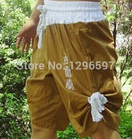 Free shipping cotton brown army green shorts embroidered authentic tradition of ancient Muay Thai Muay Thai Shorts