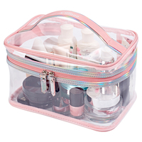 New Woman Brand Environmental Protection PVC Transparent Cosmetic Bag Women Travel Make Up Toiletry Bags High