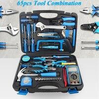 65pcs Household Tool Set Manual Hardware Tools Electrician Repair Kit With Electric Soldering Iron,Multimeter ,Socket Bag