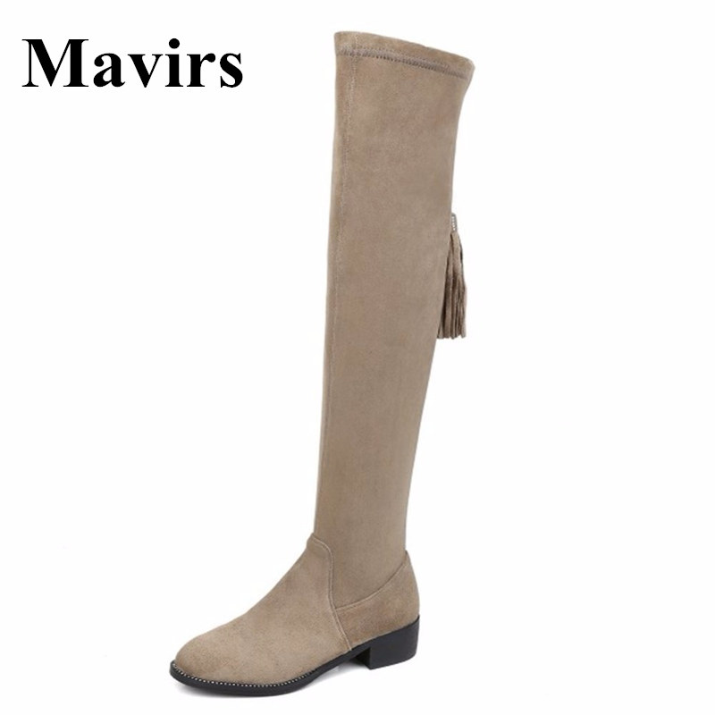 Mavirs 2018 Faux Suede  Fringe Round Toe Thigh High Over The Knee Women Boots Stretch Suede Flat Heel Tall Boots US Size 5 - 15 nayiduyun new fashion thigh high boots women faux suede point toe over knee boots stretchy slim leg high heels pumps plus size