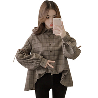 Harajuku Plaid Women Blouse Long Sleeve Turn Down Collar Bow Kawaii Women S Shirt Tops Front