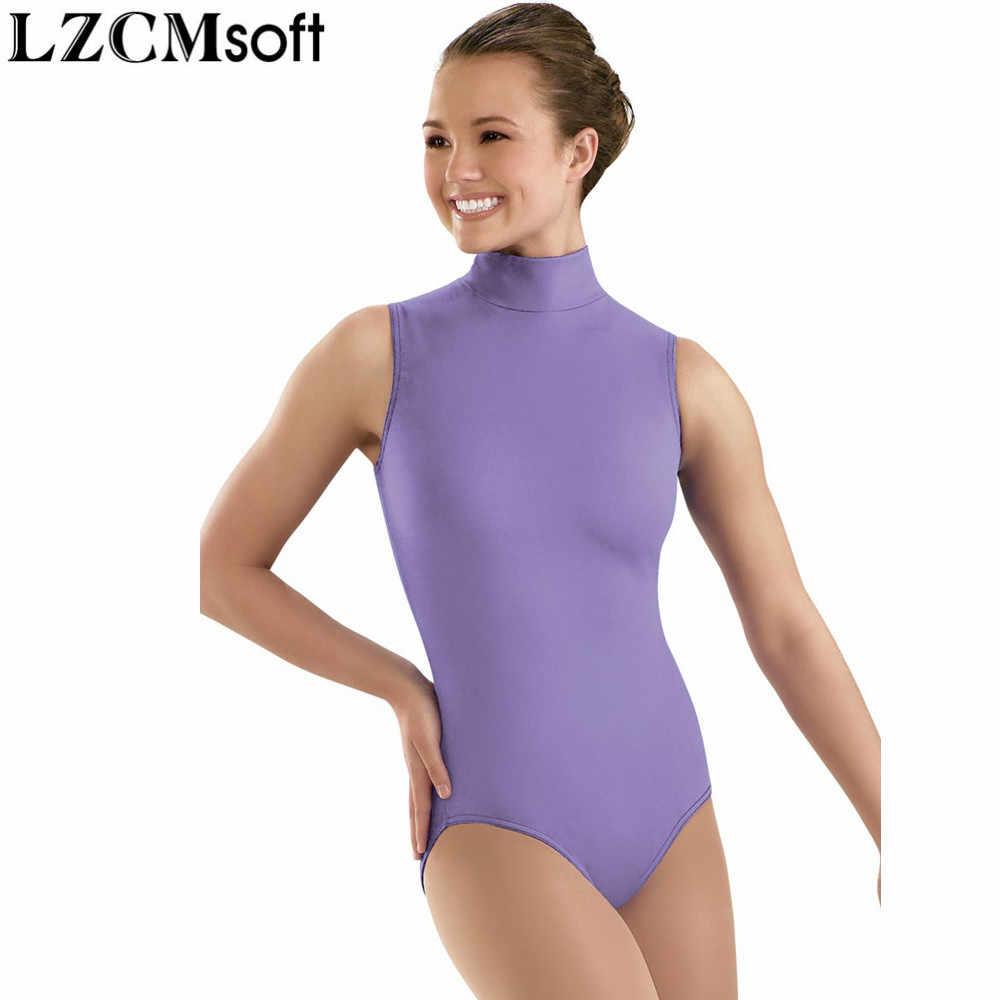 LZCMsoft женский спандекс лайкра черный без рукавов танцевальный купальник для взрослых нейлон Высокая шея гимнастика представление трико сценическое боди