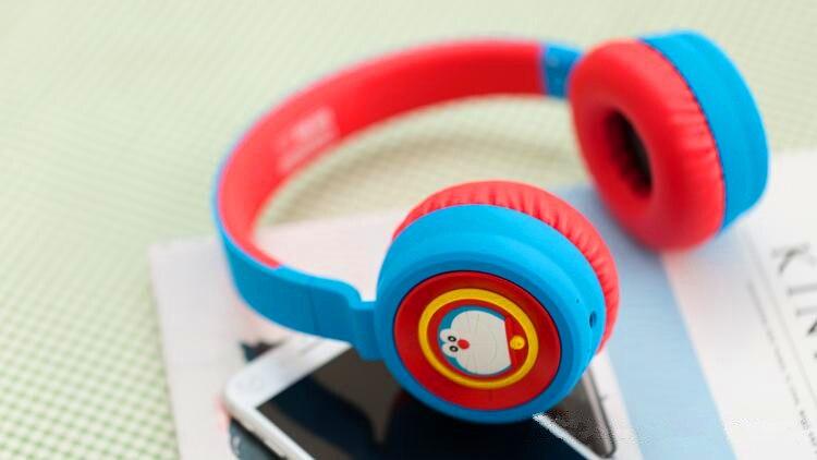 Ico stel nouveau Rockbear Doraemon Bluetooth casque sans fil machine chat bleu sur l'oreille stéréo basse musique casque fille girt
