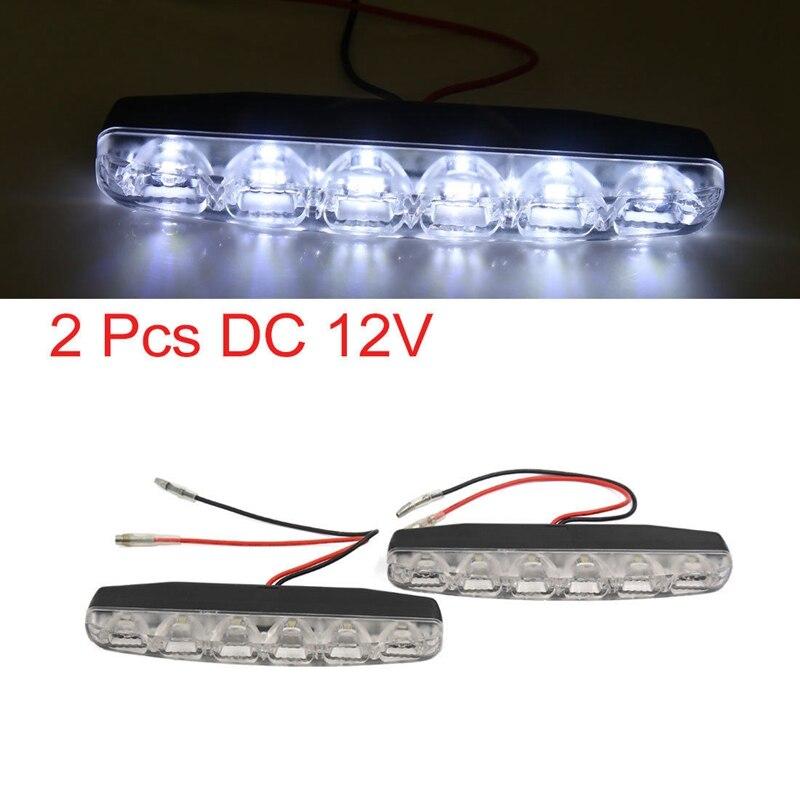 2 шт. DRL стайлинга автомобилей переход автомобильные Габаритные огни DC 12 В 6 светодиодов автомобилей дневной свет # HP