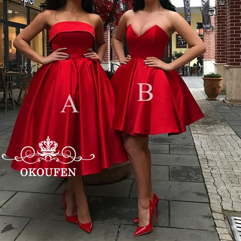 Sexy Strapless Short Red   Bridesmaid     Dresses   For Women 2019 Wholesale Price Ball Gown Lace Up Back Party   Dress   Formal Gown