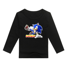 Sonic the Hedgehog Team children Cotton t shirt kids clothing full sleeves novelty kids T-shirt for children Tops tees clothes