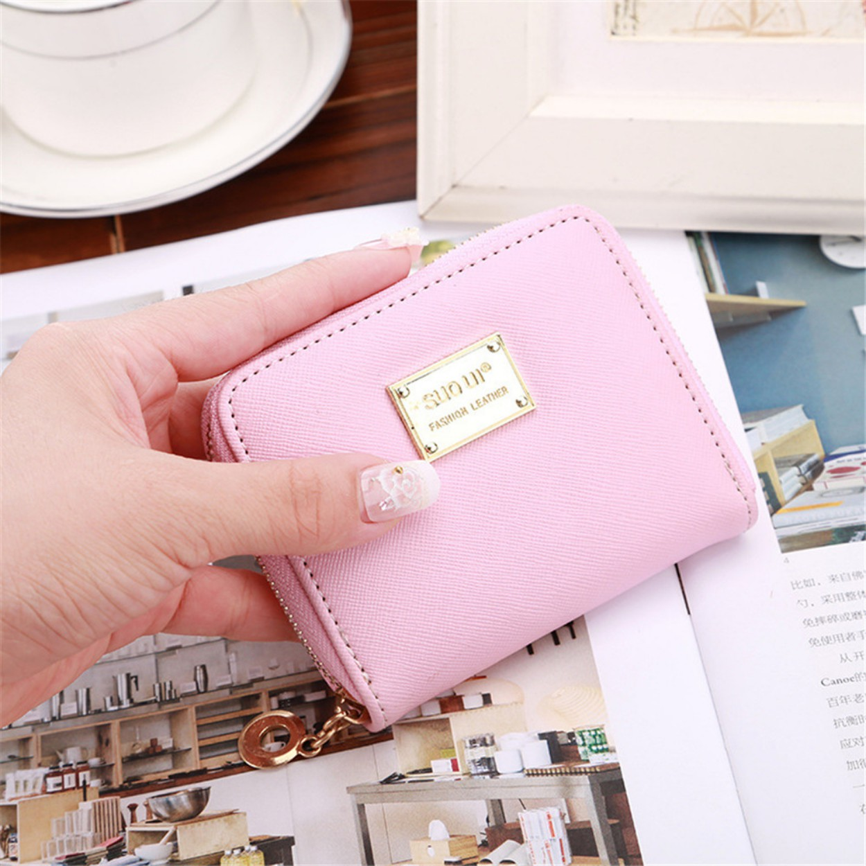 Wallet Metal Sheets Decorate PU Leather Wallet Zipper Wallet Short Coin Purse