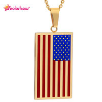 AOLOSHOW US Flag Necklaces Pendants Gold Color Stainless Steel USA American Chain For Men Women Gift