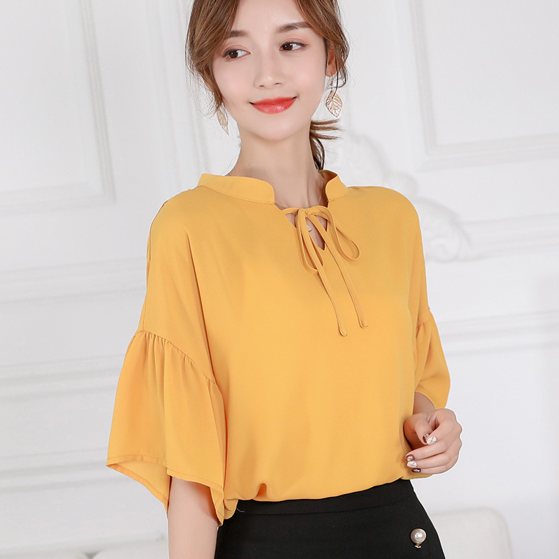 2019 Spring Summer Blouses New Korean Women Ruffles Half Sleeve Shirts Casual Office Lady Loose Tops Fashion Slim Chiffon Shirt
