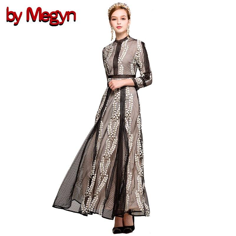 Da Megyn autunno 2017 maxi vestito delle donne Basamento di alta split Patchwork tunica nera retro floreale ricamato vestito abiti da festa
