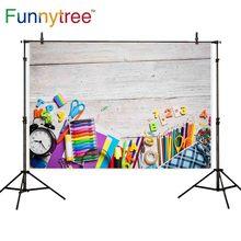 Funnytree Fondo de fotografía colorida, telón de fondo para la escuela, educación primaria, pared de madera, artista