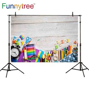 Image 1 - Funnytree backdrop background back to school elementary education wood wall artist dreamful colorful photography photo prop