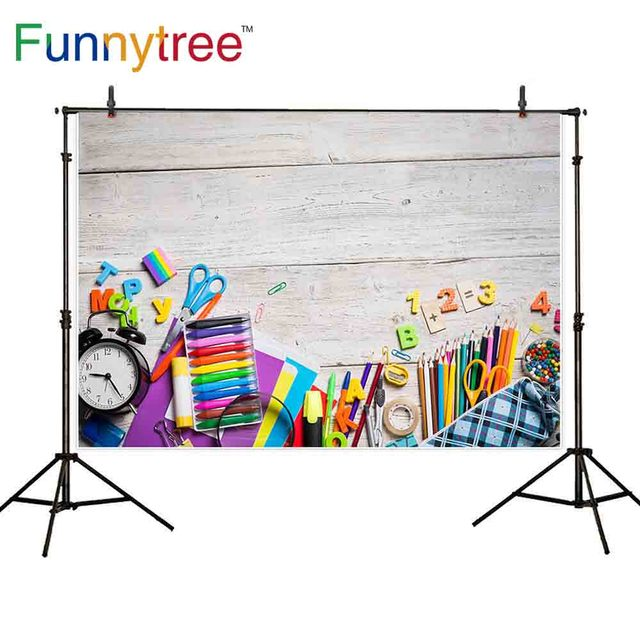 Funnytree backdrop background back to school elementary education wood wall artist dreamful colorful photography photo prop