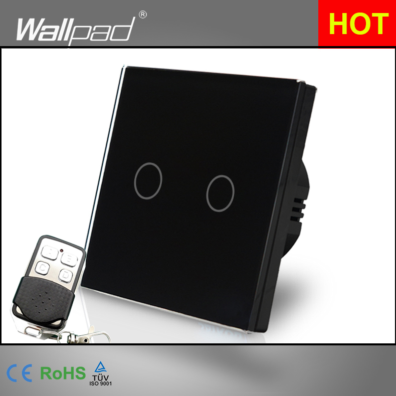 Remote EU UK Standard Wallpad Black GlassTouch Waterproof 2 Gang 2 Way RF433 Smart Remote Control Light Switches Free Shipping suck uk