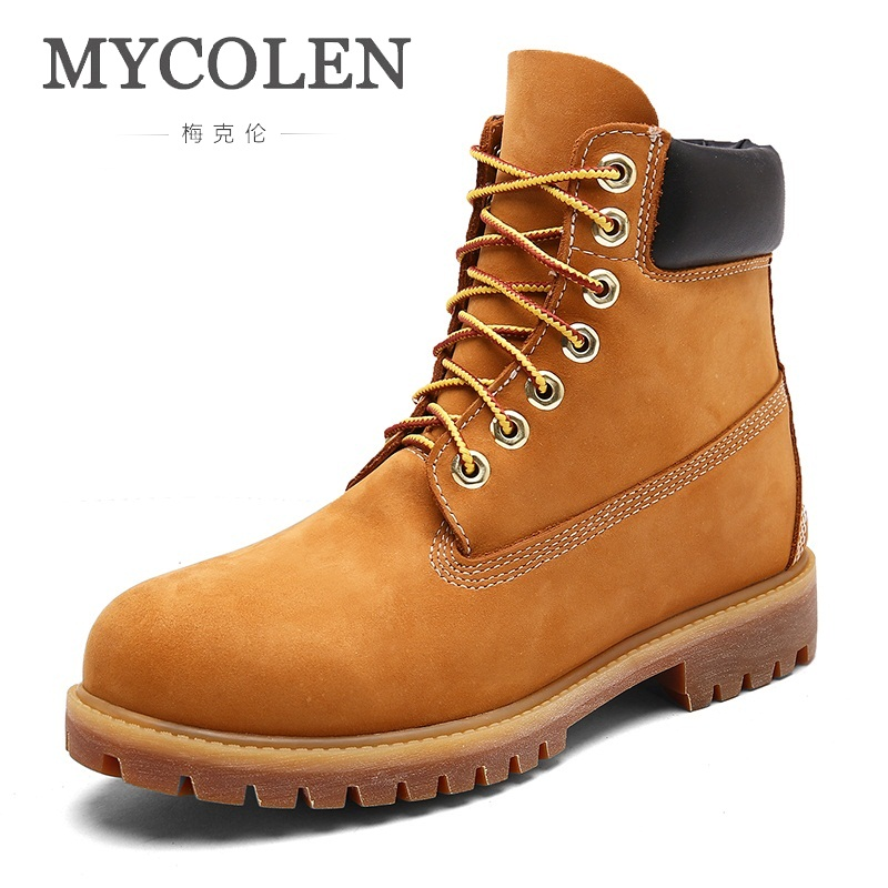 MYCOLEN New Winter Men Boots Top Fashion Style Handmade Men Shoes Casual Fashion High-Cut Lace-Up Warm Genuine Bottes Homme