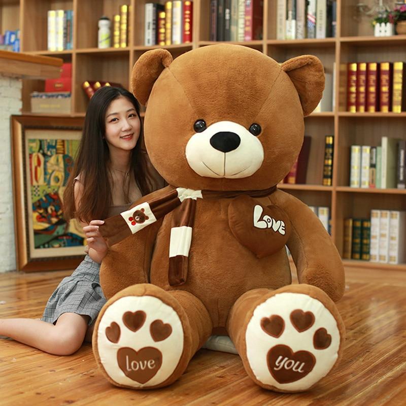 High Quality 80/100CM 4 Colors Teddy Bear With Scarf Stuffed Animals Bear Plush Toys Teddy Bear Doll Lovers Birthday Baby Gift