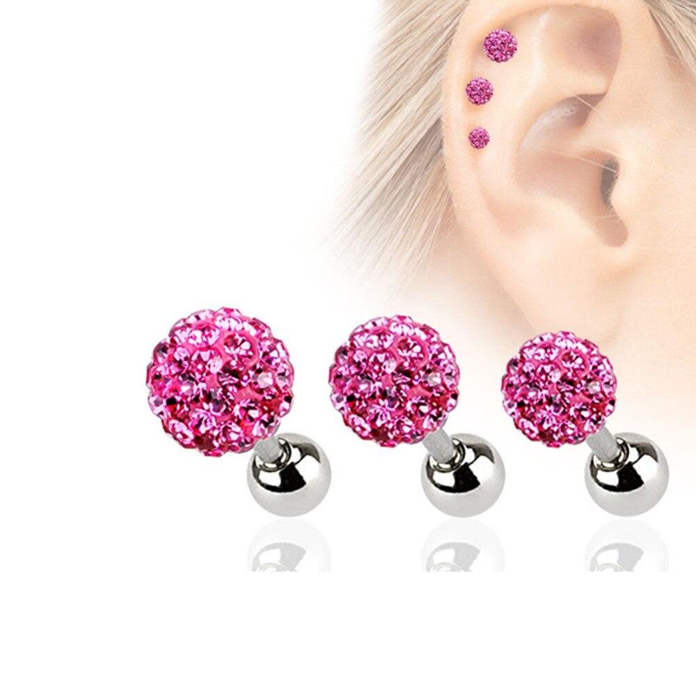 1.2x6x5mm Free Shipping Fashion Top Ear Nail Crystal Ear Bone Barbell Earring Cartilage Piercing Helix Ear Stud Tragus Earring